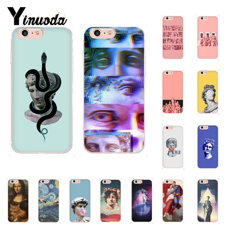 Yinuoda Mona Lisa Art David Line Van Gogh starry snake Phone case for iPhone 8 7 6 6S Plus X XS MAX 5 5S SE XR 10 11 pro max
