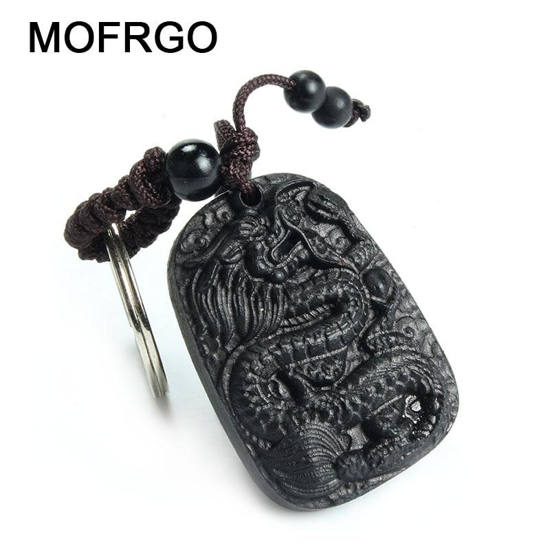 Produk Kayu Tradisional Klasik Perhiasan Etnik Ebony Gantungan Kunci Kayu Baru Cina Naga Perdamaian Keychain