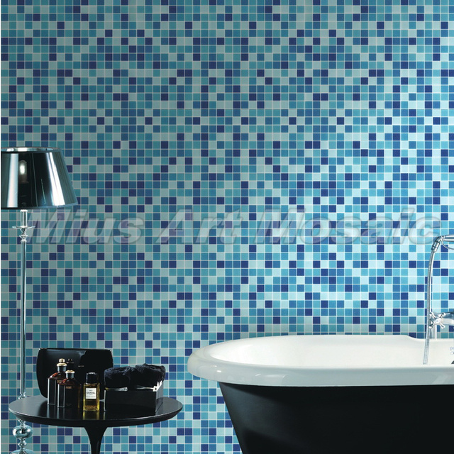 Blue Recycled Gl Mosaic Kitchen Tile Swimming Pool Factory Mr009
