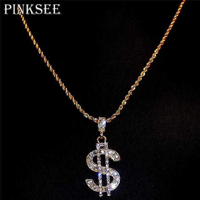 PINKSEE Gold Color Dollar Sign Necklace Gangster Pimp Hip Hop Chain Pendant  Necklace For Women Men Neck Jewelry Collares 3ec87fd44d