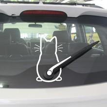 Cute Kitty Cat Car Windshield Wiper Vinyl Art Sticker Decor Lovely Animal Cat Mural Art Decal For Car Window Loptop Decoration(China)