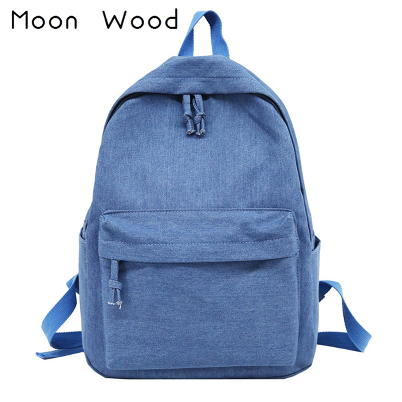 Moon Wood Simple Solid Denim Blue Canvas Backpack Women Bag College Students Travel Backpack School Bags For Teenager Girls 2018 women backpack 2016 solid corduroy backpack simple tote backpack school bags for teenager girls students shoulder bag travel bag