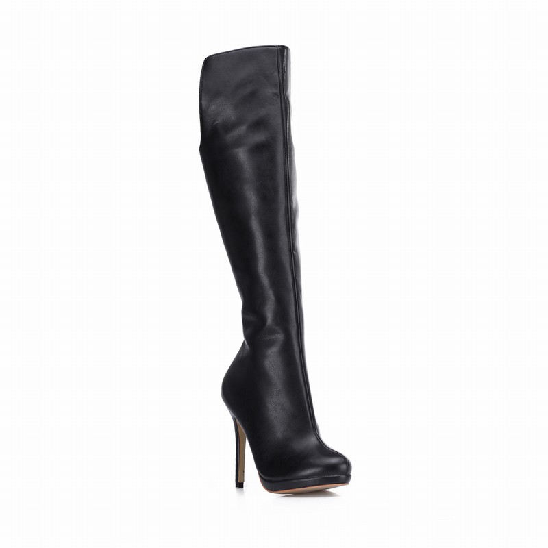 Plus Botas Sur Boots Le Zapatos Talons Plate De Bottes Invierno Haute Longues D'hiver Mujer Women Femme forme Black Genou 2017 Femmes Taille Chaussures Neige 43 7qaPxZnHwg