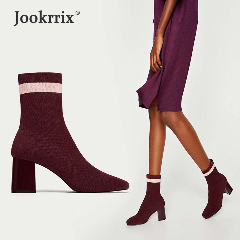 Jookrrix Autumn New Fashion Elastic Sock Boots High Heels Knitting Shoes Women Sexy Lady Booties Pointed Toe Mid Calf Black 2018 2017 new fashion brown cross tied spring autumn short booties mid calf pointed toe graceful pumps women shoes cut out boots