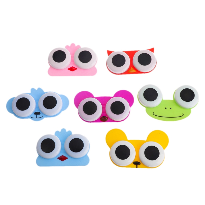 5pcs New Cute Sweet Cartoon Big Eyes Doll Shape Contact Lens Case Girl Special Partner Box Fashion With A Mirror Nursing Box Men's Glasses Apparel Accessories