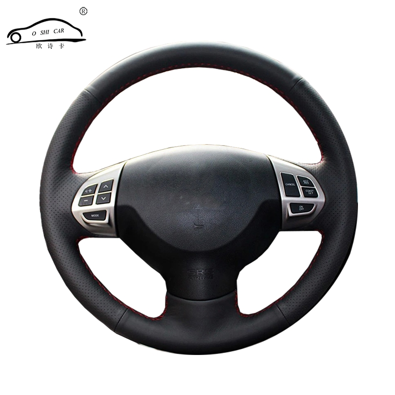 Steering wheel braid for Mitsubishi Lancer EX10 Lancer X Outlander ASX Colt Pajero Sport/Custom made auto steering wheel cover mewant black genuine leather black suede car steering wheel cover for mitsubishi lancer ex outlander asx colt pajero sport