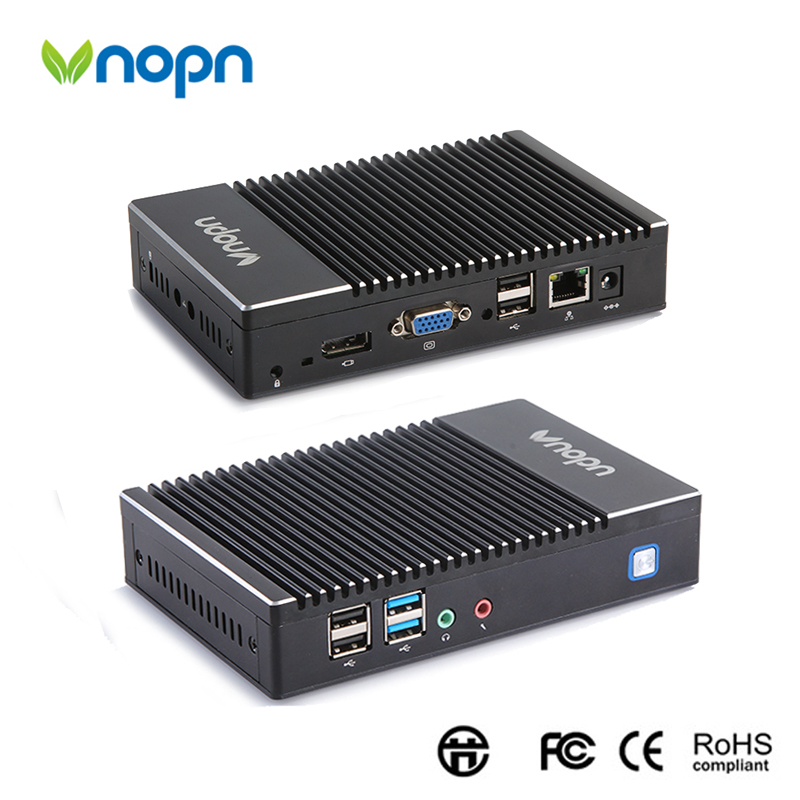 Vnopn Fanless Mini PC AMD 1450 Quad core 1.0 1.4GHz HDMI VGA Dual Display 6*USB WIFI Windows OS 8G RAM 256G SSD Desktop Computer