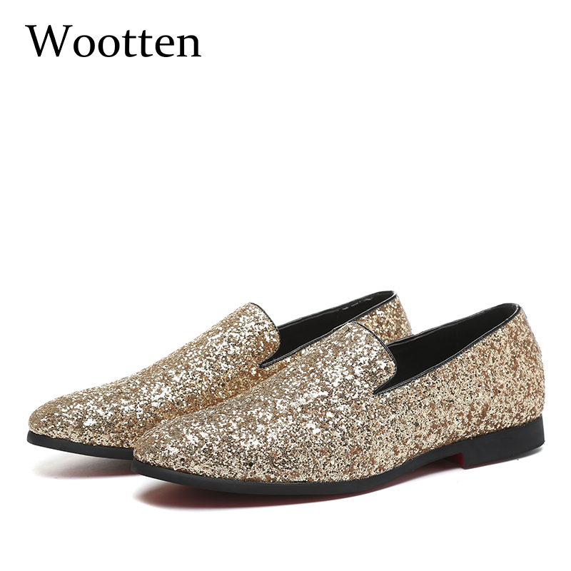 plus size loafers glitter designer luxury social fashion dress adult brand driving mens shoes casual #7516 цена