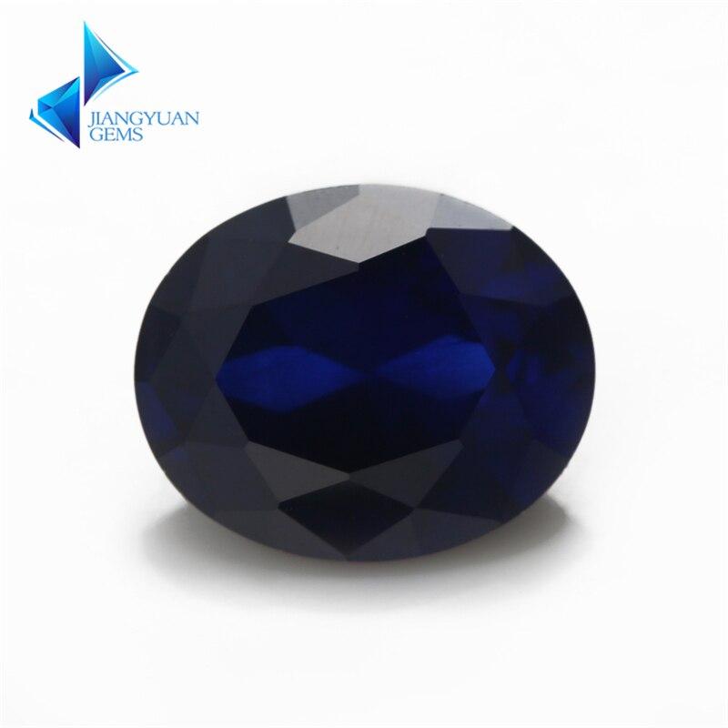 Taille 3x5 ~ 10x12mm 34 # pierres précieuses bleues forme ovale corindon pierre de corindon synthétique pour bijoux