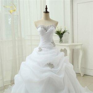 Image 5 - Gorąca sprzedaż New Arrival Vestido De Noiva linia suknia ślubna frezowanie biały suknia ślubna w kolorze kremowym 2020 szata De Mariage Casamento OW3199