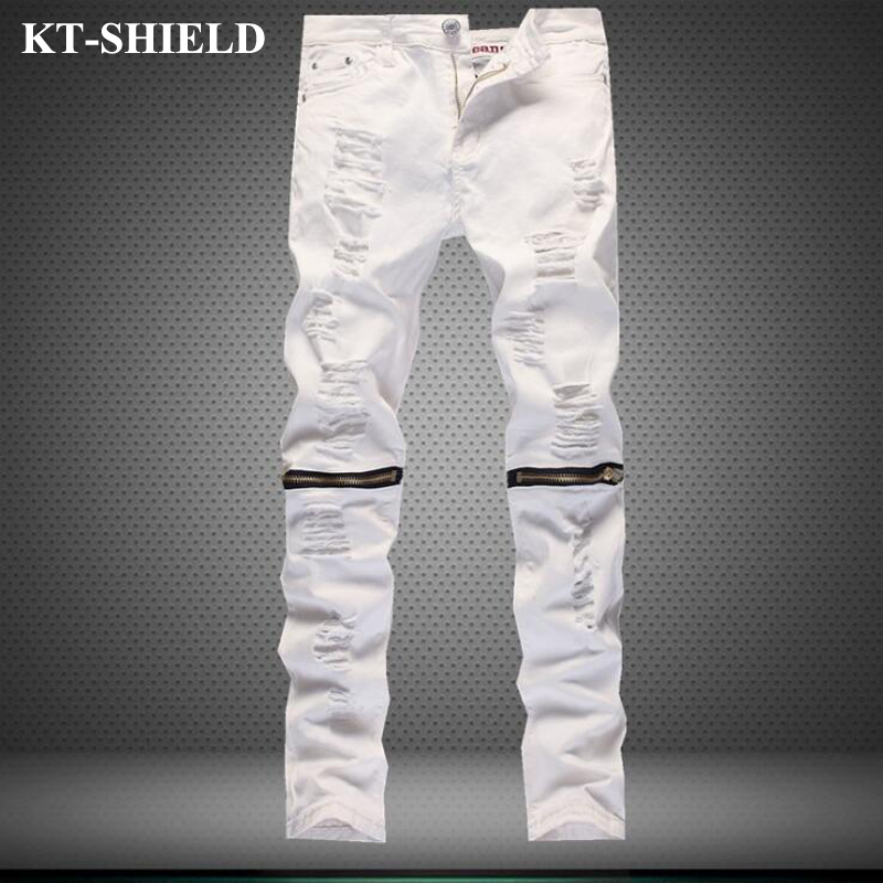 men skinny jeans brand fashion solid color slim fit ripped jeans for man denim trousers zipper