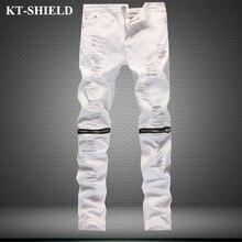 Мужчины узкие джинсы бренд моды сплошной цвет slim fit ripped джинсы для мужчин джинсовые брюки молния хлопка случайный мужчина шаровары брюки