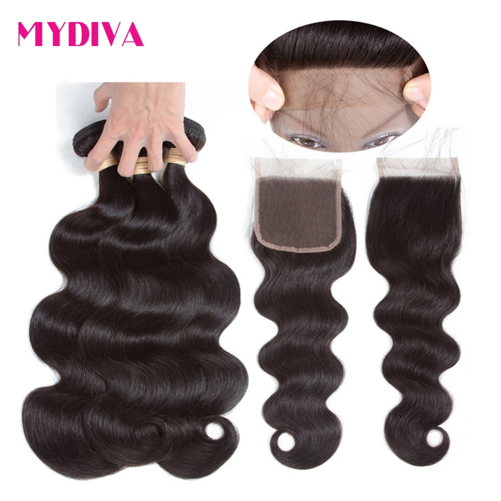 Brazilian Body Wave Bundles With Closure Non Remy Human Hair Weave 3 Bundles With Closure Can Be Dyed & Bleached Mydiva