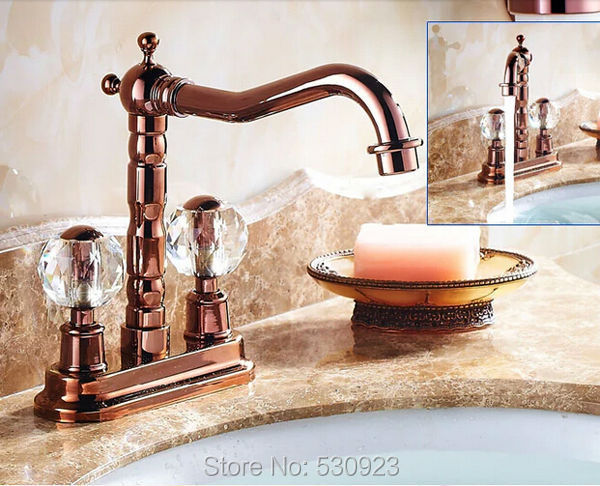 Newly Lucury Rose Golden Polished Vessel Sink Faucet Bathroom Basin Faucet Mixer Tap Dual Crystal Handles Deck Mounted