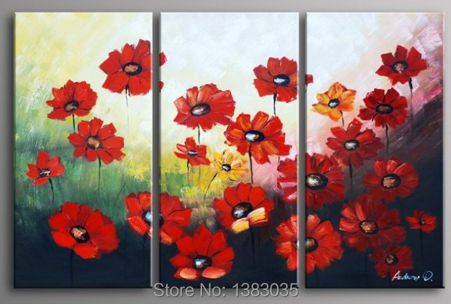 Hand painted abstract red poppy flowers canvas painting - Cuadros para la habitacion ...