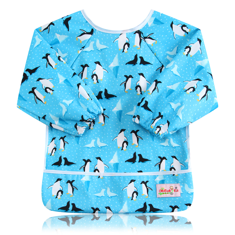 Ohbabyka Baby Bibs Long Sleeve Waterproof Infant Boy Girl Bibs&Burp Cloths Polyester Feeding Pocket Kids Slabbers