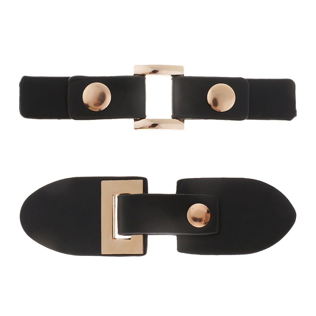 1 Set Black PU Leather Metal Snap Sewing Toggle Button for Bag Coat Fastener