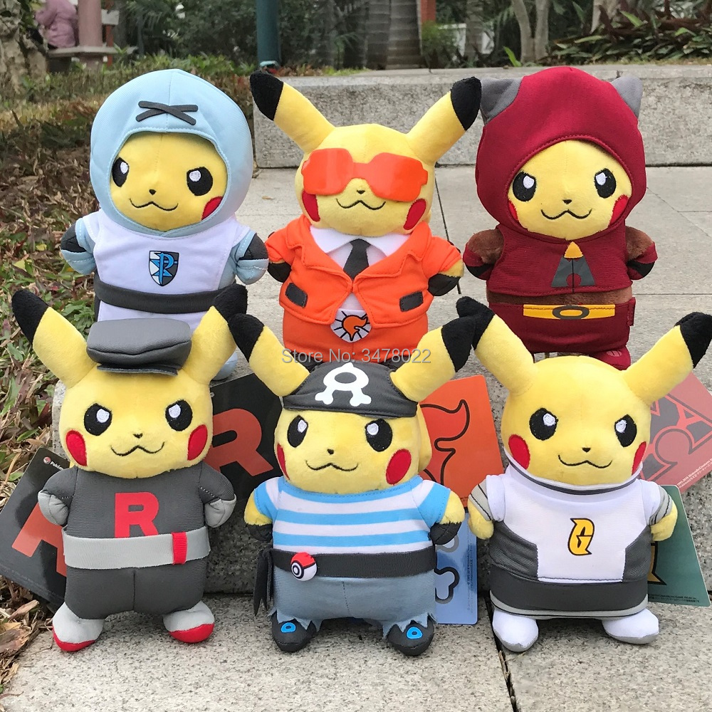 "Cute Pikachu 8"" Plush Toys Team Rocket Galactic Aqua Grunt Flare Plasma Magma Cosplay Toy Stuffed Animal Doll(China)"