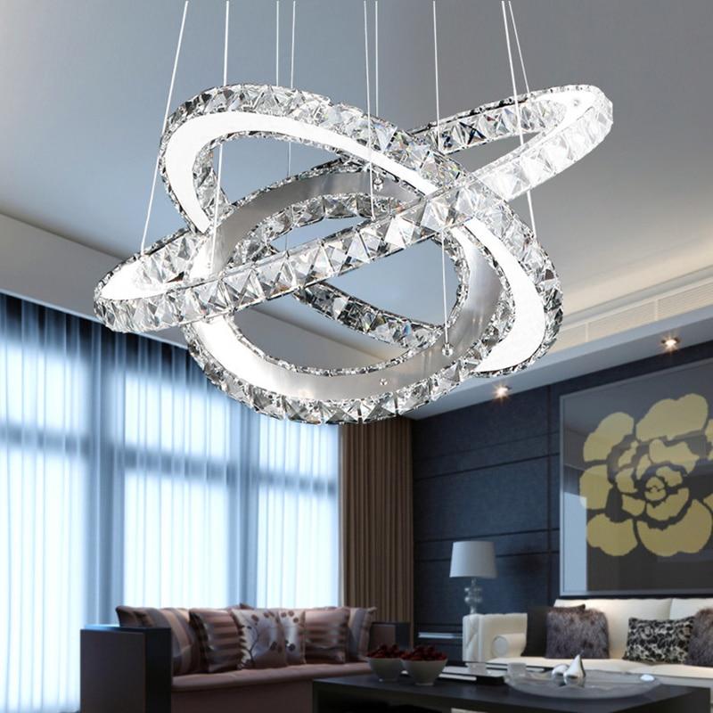 Modern Chrome Chandelier Crystals Diamond Ring LED Lamp Stainless Steel Hanging Light Fixtures Adjustable Cristal LED
