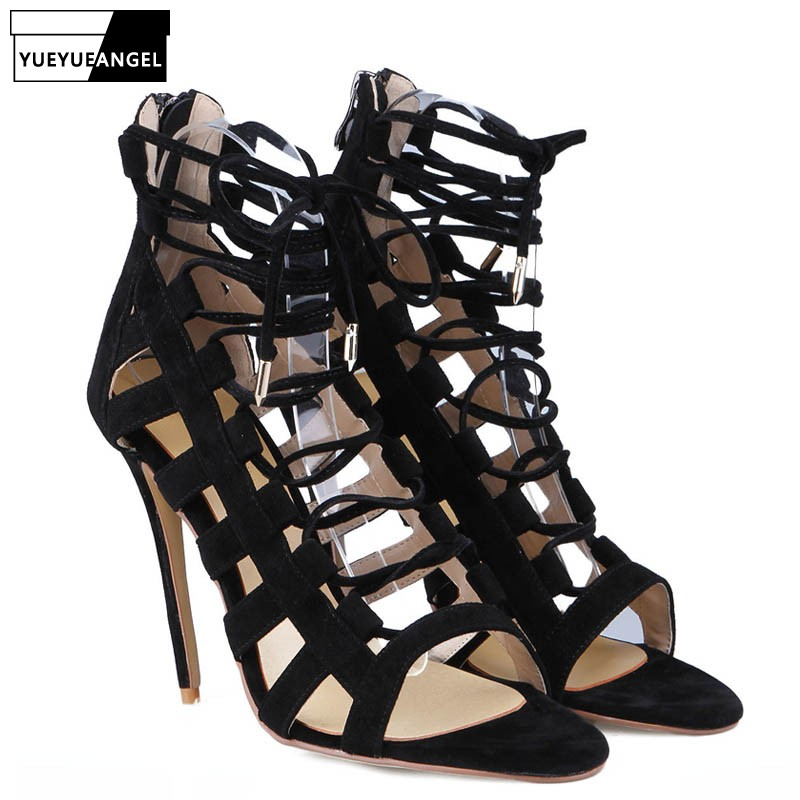 Attractive Black Suede Leather-based Excessive Heels Girls Sansals 2019 New Straps Hole Out Night time Membership Dancing Feminine Sneakers Open Toes Plus Dimension footwear open toe, open toe, open...