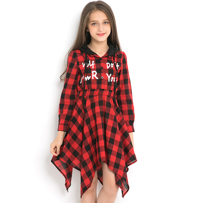 Female Children's Blouse Dress Hooded Plaid Letter Print Girl Long Sleeve Dresses 11 12 13 14 Years Teen Clothes Irregular Hem цена 2017