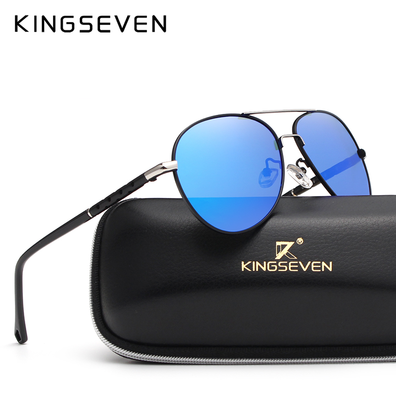 2019 Новое Прибытие KINGSEVEN Поляризованные Солнцезащитные Очки Мужчины / Женщины Марка Дизайнер Мужской винтаж Солнцезащитные Очки Gafas óculos de sol masculino