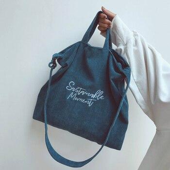 f22fbbd30 De pana bolsa de hombro para las mujeres bordado de tela de algodón bolsos  bandolera de mujer Bolsa Bandolera bolso bolsos de cremallera nuevo