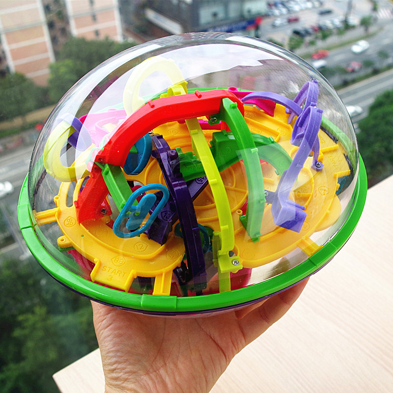 100 ~ 299 Tahap Labyrinth Puzzle Ball 3D Maze Intellect Kids Toy Magic Cube Fun Finger Toys Balance Logic Skill Children Gift