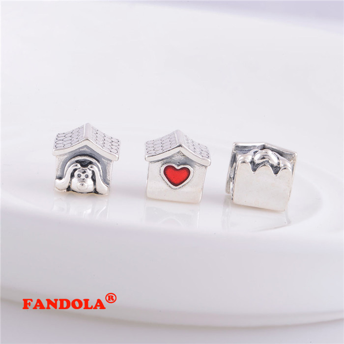 Authentic 925 Sterling Silver Dog House Screw Hole Charm Beads Diy Jewelry Fits Pandora Charms Bracelet Lw134 Bracing Up The Whole System And Strengthening It Beads Jewelry & Accessories