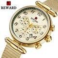 Часы женские  кварцевые  водонепроницаемые  полностью стальные  с секундомером  многофункциональные  розовое золото