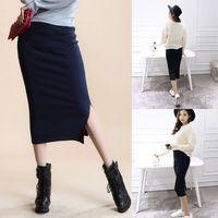 Для женщин зимняя высокая талия и бедра Разделение ребра вязать миди облегающая юбка карандаш одноцветное Цвет