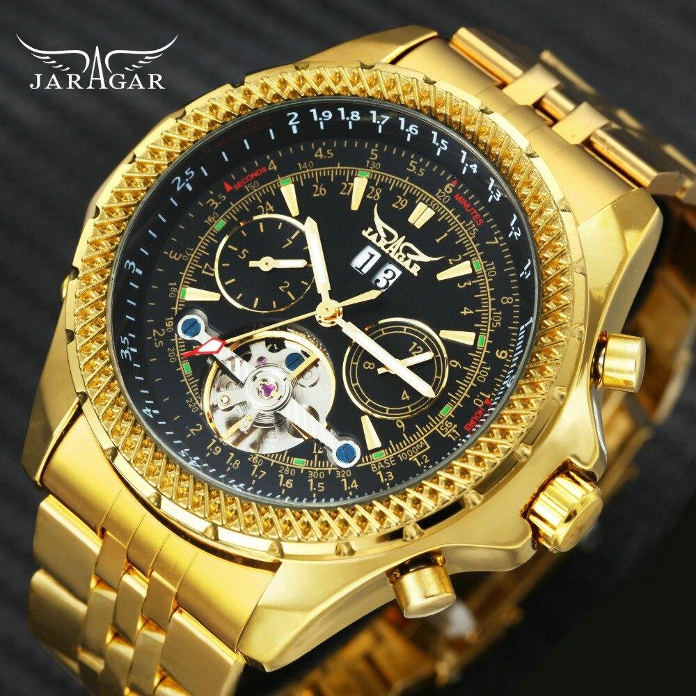 JARAGAR automatic mechanical watch luxury wristwatches Tourbillon gold Punk steel mens watchJARAGAR automatic mechanical watch luxury wristwatches Tourbillon gold Punk steel mens watch