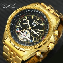 JARAGAR automatic mechanical watch luxury wristwatches Tourbillon gold Punk steel mens
