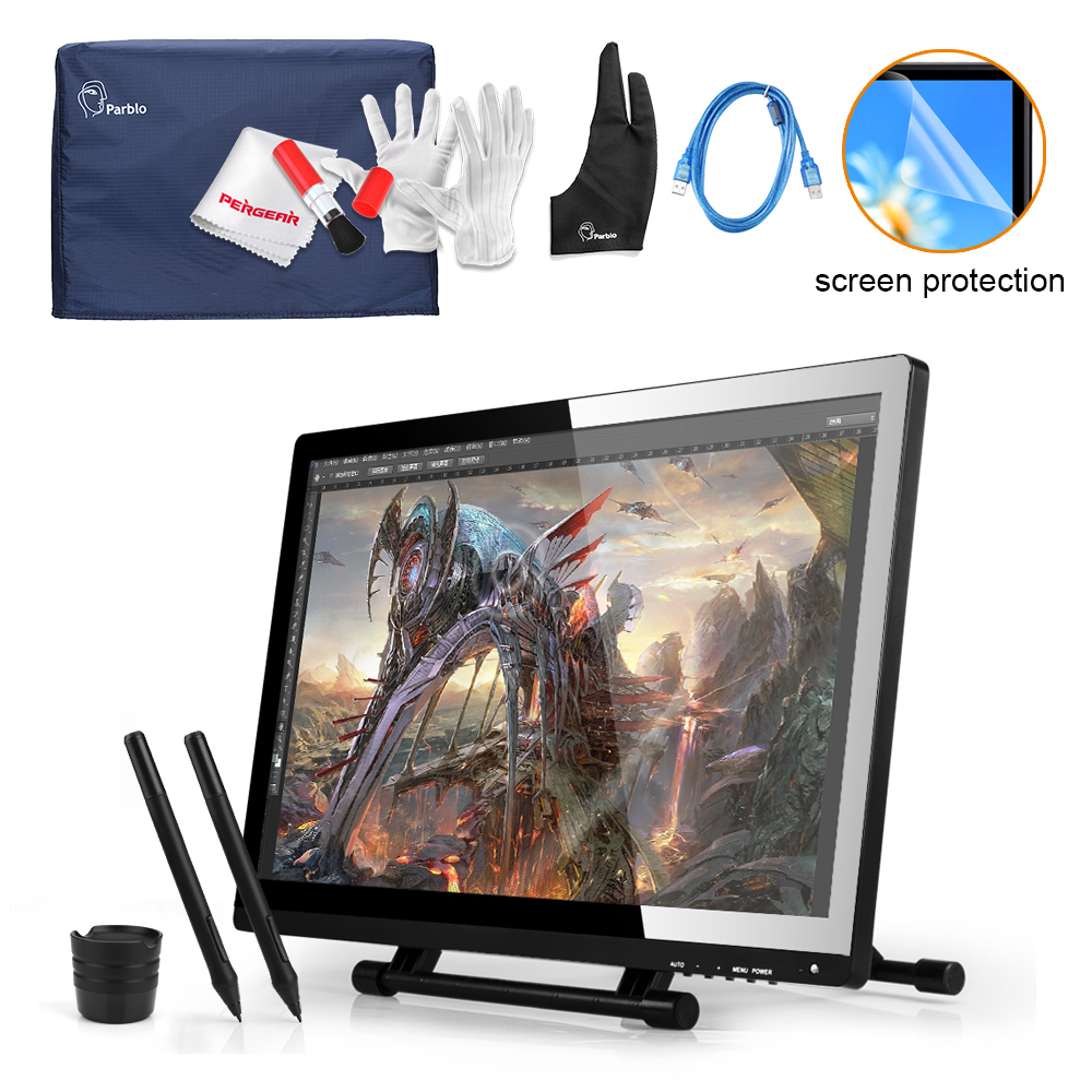 2 Pens UGEE 21.5 IPS UG-2150 Digital Graphic Drawing Tablet Monitor  2048 Pen Pressure + Protector + Cover + Glove +USB Cable ugee ug2150 21 5 inch graphic drawing monitor stylus pen display graphic tablet with screen ips panel for macbook imac windows