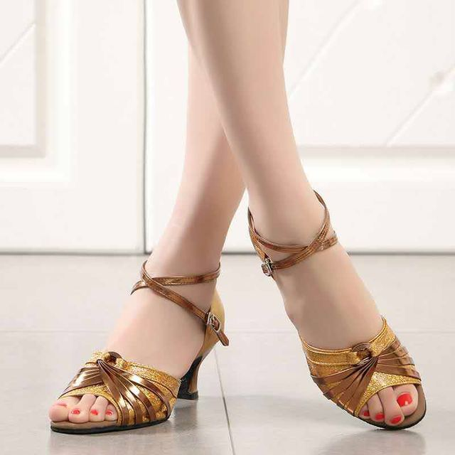 ecb63382a92 low heel latin ballroom dance shoes Gold color popular style for children  kids girls women ladies Silver shoes sequins sandals