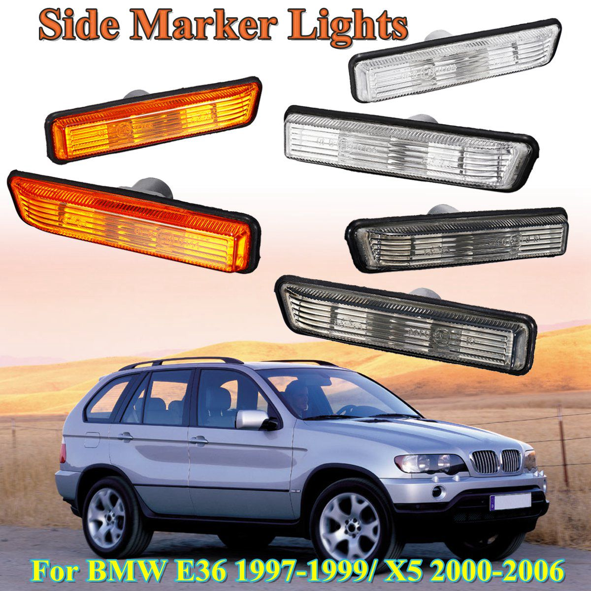 for BMW E36 1997 1998 1999 X5 2000 2001 2002-2006 1 Pair Car styling Side Marker Turn Signal Lights Repeater replacement Lampfor BMW E36 1997 1998 1999 X5 2000 2001 2002-2006 1 Pair Car styling Side Marker Turn Signal Lights Repeater replacement Lamp