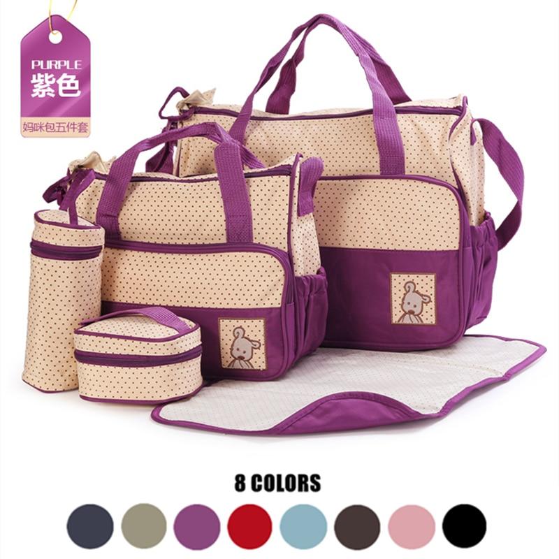5 PCS/SET Multifunctional Baby Nappy Bags Diaper Bag Mommy Bag Bottle Storage Maternity Handbag Waterproof Baby Stroller Bag