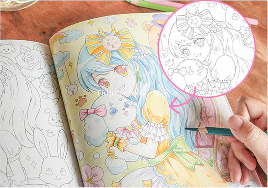 Kids coloring book Chinese line drawing book Princess painting book  anti-stress pencil watercolor colored book
