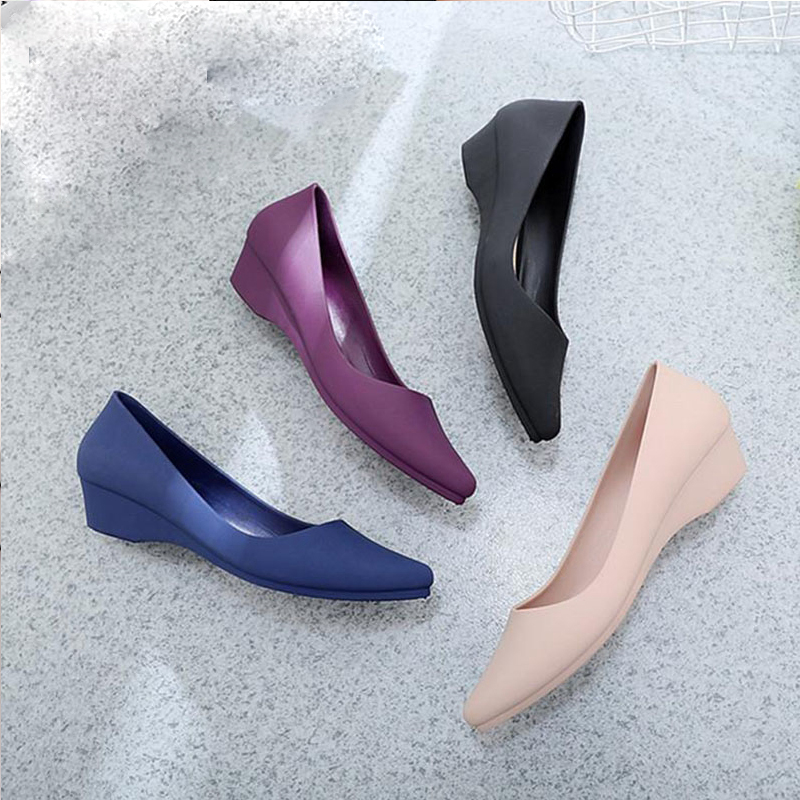 Suede Classic Women Wedge Shoes Pointed Toe Pumps Slip On Mid Heels Platform Mary Jane Office Lady Pumps Party Espadrilles Cute