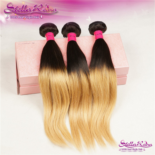 T1b27 Ombre Hair Extensions 4 Bundles Strawberry Honey Blonde Ombre
