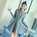 New Arrival Autumn And Winter Clothing Women Fashion Beaded Lace Wool Dress Female Casual Long Sleeve Warm Dresses LY1049