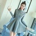 Nova Chegada do Outono E Roupas de Inverno Moda Feminina Frisado Rendas Vestido De Lã Feminino Casual Manga Comprida Vestidos Quentes LY1049