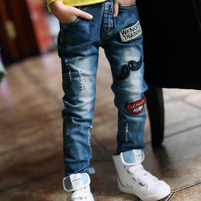 Novo 2016 primavera/outono Meninos Moda Jeans Para Crianças Magro Calças Calça Casual das Crianças Elástico Na Cintura Denim Pant Long venda quente