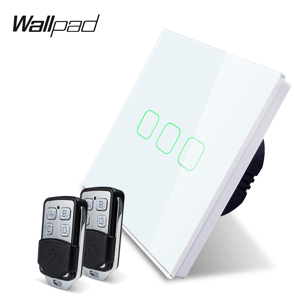 Wallpad K3 Capacitive Triple Dimmer Remote Touch Switch 3 Gang 4 Colors Tempered Glass Panel Wall Electrical Light Switch RF433-in Switches from Lights & Lighting