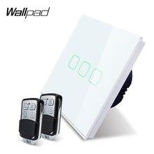 Wallpad k3 용량 성 트리플 디머 원격 터치 스위치 3 갱 4 색 강화 유리 패널 벽 전기 조명 스위치 rf433