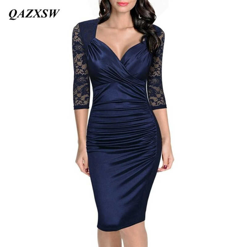 QAZXSW1-Women clothes Store QAZXSW Women Autumn Dress Fashion Elegant Vintage Rockabilly Lace Sleeve V Neck Ruched Party Bodycon Pencil Sheath Dress YX0064