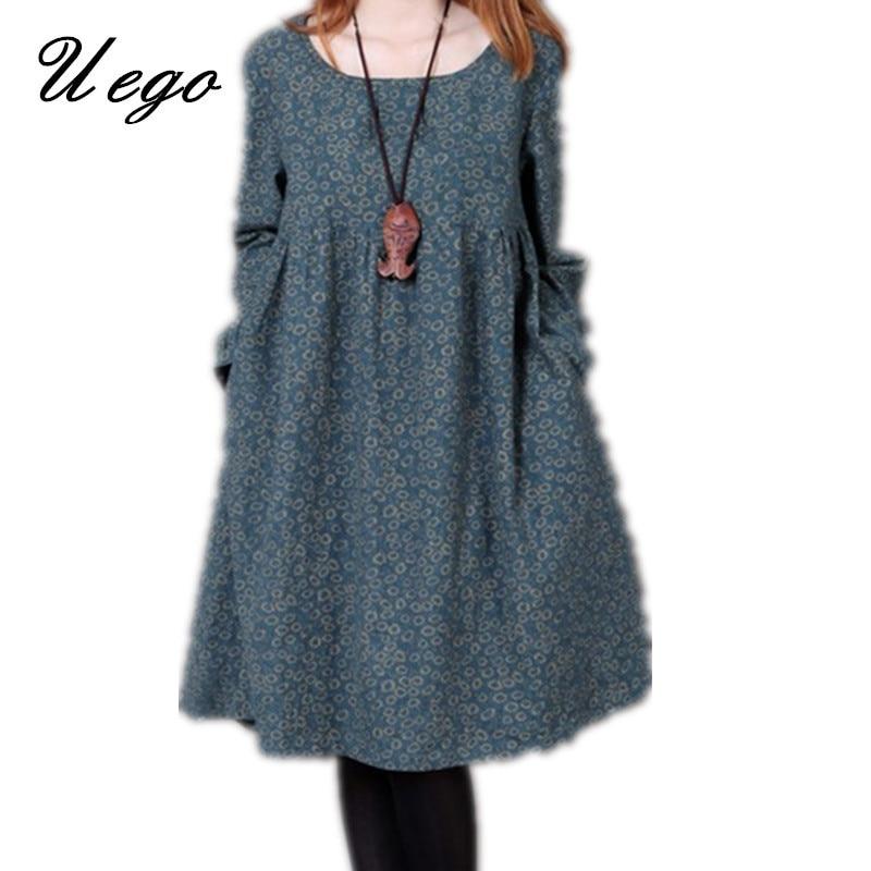Uego 2021 New Fashion Women Autumn Spring Dress Print Floral Slim Waist Casual Dress Cotton Linen Plus Size Vintage Party Dress 7