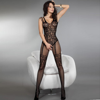 Floral Motif Mesh Body Stockings 1