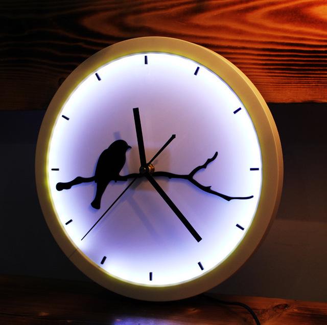 Hot Creative Clock Luminous Moon / Bird / Fish / Moon Wall Clock LED Lamp Luminous Wall Clock Silent Wall Art New Design Clock