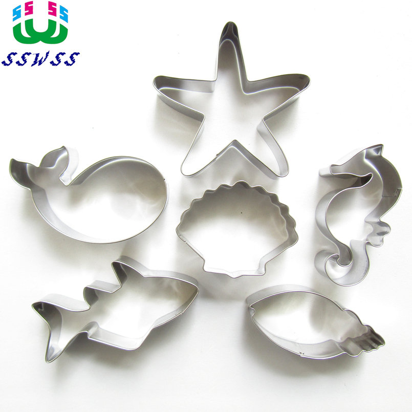Starfish, Snäckskal, Conch, Sea Horse, Shark, Whale, Sex Söt Charmiga Havs Creatures Shape Cake Decorating, Baking Tools, Direktförsäljning